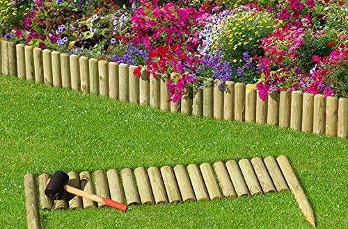 naturholz-shop Beeteinfassung Rasenkante Steckzaun 100 cm Zaunhöhe 20 cm aus Holz