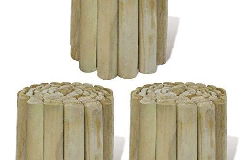 vidaXL 3X Holz Rollboarder 250x20cm Beetumrandung Rasenkante Beeteinfassung